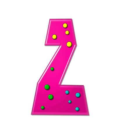 The letter Z, in the alphabet set Polka Dot Party, is hot pink.   3D multi-colored dots decorate letter.