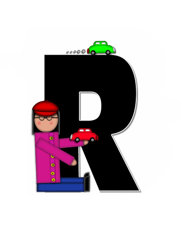 r transportation: The letter R, in alphabet set Children Automobiles is black.  Letters are decorated with children holding cars.  Small automobile driving around edges of letters. Stock Photo