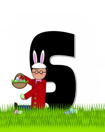 tall grass: The letter S, in the alphabet set Children Easter Eggs is black and trimmed with white.  Child with basket hunts for Easter eggs in the tall grass.