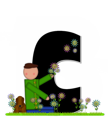 picking: The letter C, in the alphabet set Children Picking Flowers, is black outlined with white.  Children, pet dog, and flowers decorate letter.