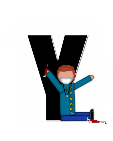 cuff: The letter Y, in alphabet set Children Healthcare is black.  Letters are decorated with Physician, perscription and medical equipment such as thermometer, stethoscope, and blood pressure cuff.