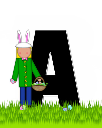 tall grass: The letter A, in the alphabet set Children Easter Eggs is black and trimmed with white.  Child with basket hunts for Easter eggs in the tall grass.