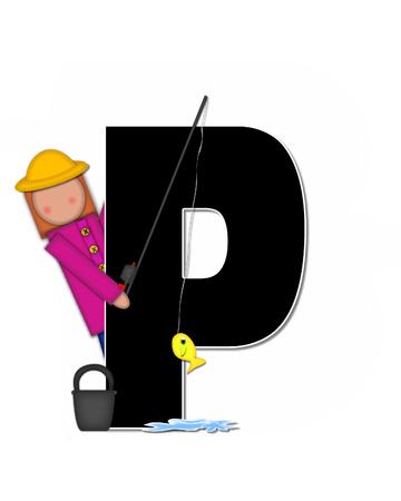 """seau d eau: La lettre P, dans l'ensemble de l'alphabet """"Pêche Enfants Gone,"""" est noir décrit avec le blanc. Les enfants, canne et moulinet, seau, eau et lettre de décorer des poissons. Banque d'images"""