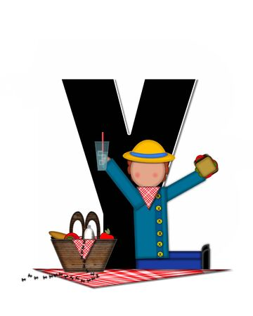 The letter Y, in the alphabet set Children Picnic, is black outlined with white.  Children enjoy picnic complete with food, picnic basket, blanket and visiting ants.