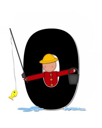 """seau d eau: La lettre O, dans l'ensemble de l'alphabet """"Pêche Enfants Gone,"""" est noir décrit avec le blanc. Les enfants, canne et moulinet, seau, eau et lettre de décorer des poissons."""