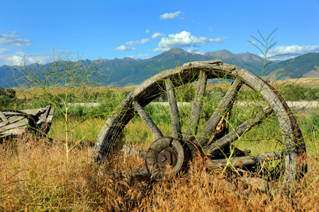 rusting: Weathered and rusting wagon wheel sits overgrown by weeds in Paradise Valley, Montana. Stock Photo