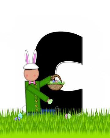 tall grass: The letter C, in the alphabet set Children Easter Eggs is black and trimmed with white.  Child with basket hunts for Easter eggs in the tall grass.