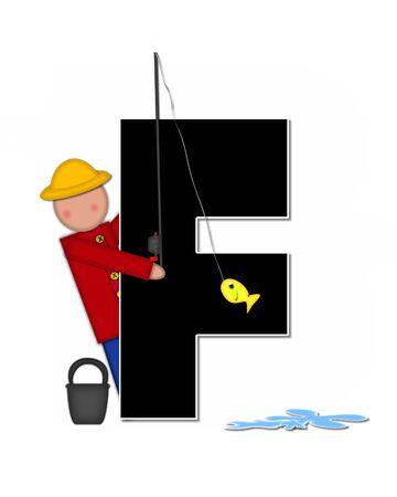 """seau d eau: La lettre F, dans l'ensemble de l'alphabet """"Pêche Enfants Gone,"""" est noir décrit avec le blanc. Les enfants, canne et moulinet, seau, eau et lettre de décorer des poissons."""