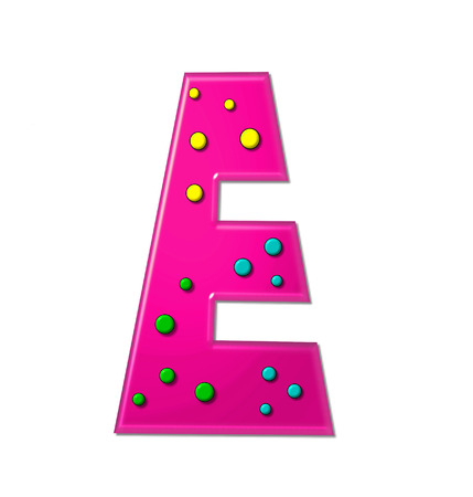 hot pink: The letter E, in the alphabet set Polka Dot Party, is hot pink.   3D multi-colored dots decorate letter.