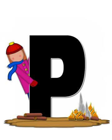 camp fire: The letter P, in the alphabet set Children Camp Fire is black and outlined with white.  Children, are dressed in cap, scarf and mittens and at their feet is a camp fire.