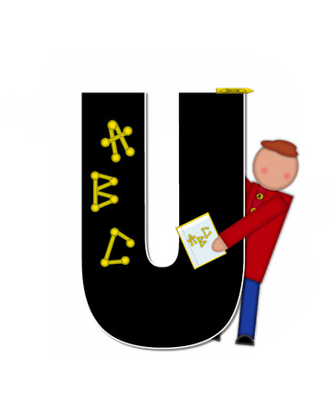 The letter U, in alphabet set Children ABCs is black.  Letters are decorated with colorful ABCs.  Child holds crayon and homework paper with the letters ABC on it. Stock Photo