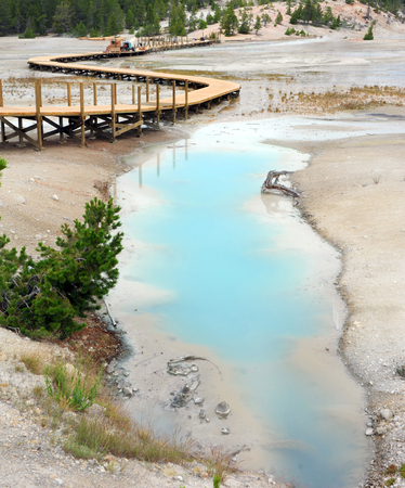 Wooden Porcelain Basin Trail runs besides Palette Springs, in the Norris Geyser Basin, in Yellowstone National Park is under construction or repairs.