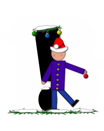 """point exclamation: Point d'exclamation, dans l'ensemble de l'alphabet """"Enfants Décorations de Noël,"""" est décoré de neige et de branches de pin. L'enfant a chapeau de Père Noël nad décore leter."""