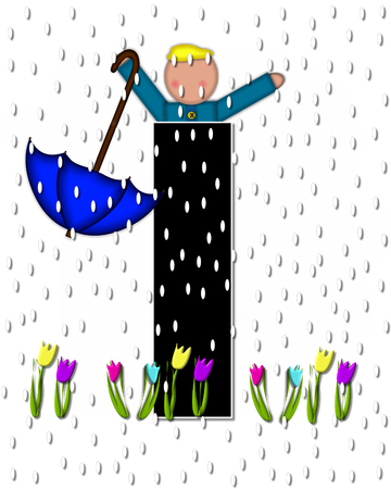 The letter I, in the alphabet set Children April Showers is black and trimmed with white.  Child holds unbrella while rain drops fall on her and Spring tulips. Stock Photo