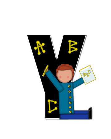 gradeschool: The letter Y, in alphabet set Children ABCs is black.  Letters are decorated with colorful ABCs.  Child holds crayon and homework paper with the letters ABC on it.