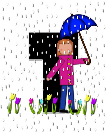 The letter T, in the alphabet set Children April Showers is black and trimmed with white.  Child holds unbrella while rain drops fall on her and Spring tulips.