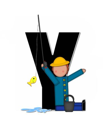 seau d eau: The letter Y, in the alphabet set Children Gone Fishing, is black outlined with white.  Children, rod and reel, bucket, water and fish decorate letter.