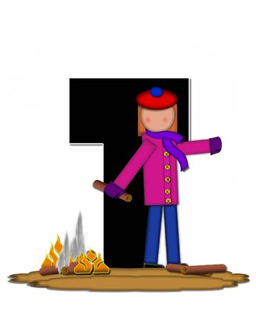 The letter T, in the alphabet set Children Camp Fire is black and outlined with white.  Children, are dressed in cap, scarf and mittens and at their feet is a camp fire.