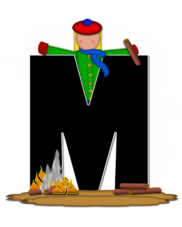 The letter M, in the alphabet set Children Camp Fire is black and outlined with white.  Children, are dressed in cap, scarf and mittens and at their feet is a camp fire.