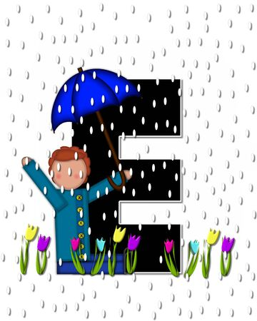 april showers: The letter E, in the alphabet set Children April Showers is black and trimmed with white.  Child holds unbrella while rain drops fall on her and Spring tulips.