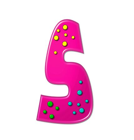 The letter S, in the alphabet set Polka Dot Party, is hot pink.   3D multi-colored dots decorate letter.
