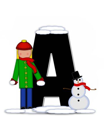 snow cap: The letter A, in the alphabet set Children Building Snowman is black and outlined with white.  Child holds wearing cap, scarf and mittens, holds snow ready to pack onto his snowman.