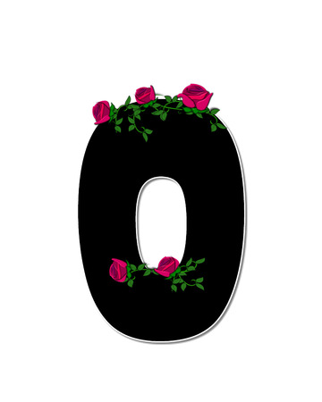spread around: The letter O, in the alphabet set Rose Trellis, is black with white outline.  Roses and vines grow and spread around letter.