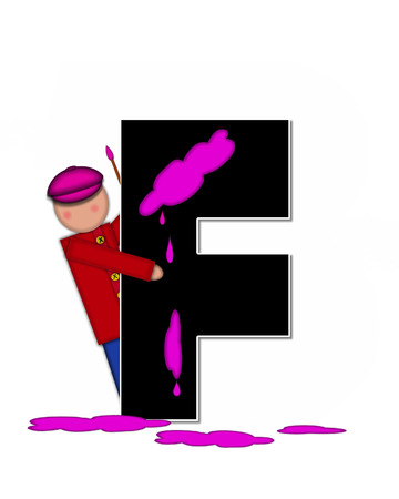 The letter F, in the alphabet set Children Creative, is black and outlined with white.  Child holds artist palette and paintbrush as she splashes paint on letter and floor. Stock Photo