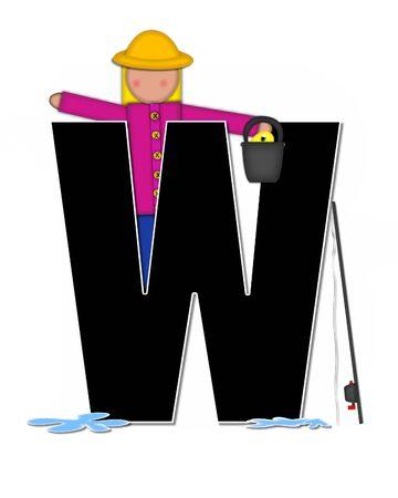 """seau d eau: La lettre W, dans l'ensemble de l'alphabet """"Pêche Enfants Gone,"""" est noir décrit avec le blanc. Les enfants, canne et moulinet, seau, eau et lettre de décorer des poissons. Banque d'images"""