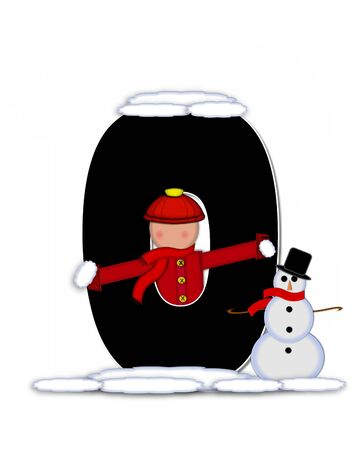 snow cap: The letter O, in the alphabet set Children Building Snowman is black and outlined with white.  Child holds wearing cap, scarf and mittens, holds snow ready to pack onto his snowman. Stock Photo