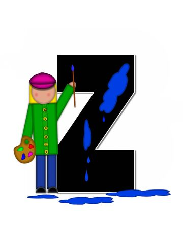 The letter Z, in the alphabet set Children Creative, is black and outlined with white.  Child holds artist palette and paintbrush as she splashes paint on letter and floor.