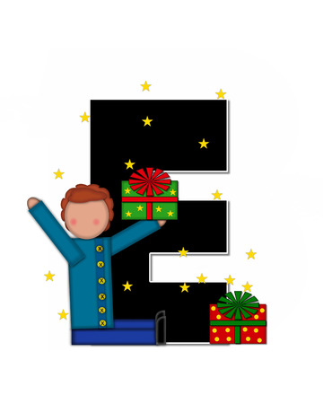 child holding sign: The letter E, in the alphabet set Children Christmas Gift is black and trimmed with white. Child holds Gift and is surrounded by golden stars.