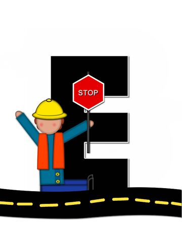 e white: The letter E, in the alphabet set Children Highway Construction, is black and outlined with white.  Child stands or sits on highway holding highway construction signs.