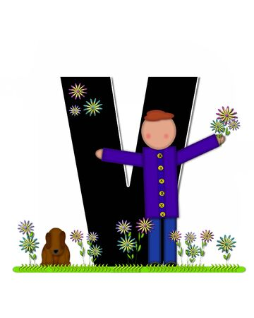The letter V, in the alphabet set Children Picking Flowers, is black outlined with white.  Children, pet dog, and flowers decorate letter.
