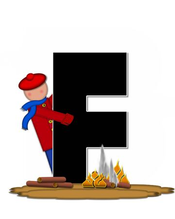 The letter F, in the alphabet set Children Camp Fire is black and outlined with white.  Children, are dressed in cap, scarf and mittens and at their feet is a camp fire. Stock Photo