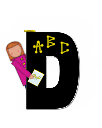 gradeschool: The letter D, in alphabet set Children ABCs is black.  Letters are decorated with colorful ABCs.  Child holds crayon and homework paper with the letters ABC on it.