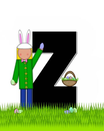 child holding sign: The letter Z, in the alphabet set Children Easter Eggs is black and trimmed with white.  Child with basket hunts for Easter eggs in the tall grass. Stock Photo