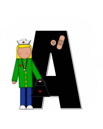 The letter A, in alphabet set Children Nursing Career is black.  Letters are decorated with nurse, perscription and medical equipment such as thermometer, stethoscope, and blood pressure cuff. Stock Photo
