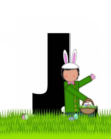 tall grass: The letter J, in the alphabet set Children Easter Eggs is black and trimmed with white.  Child with basket hunts for Easter eggs in the tall grass.
