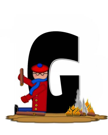 The letter G, in the alphabet set Children Camp Fire is black and outlined with white.  Children, are dressed in cap, scarf and mittens and at their feet is a camp fire.