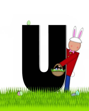 tall grass: The letter U, in the alphabet set Children Easter Eggs is black and trimmed with white.  Child with basket hunts for Easter eggs in the tall grass. Stock Photo