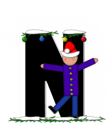 boughs: The letter N, in the alphabet set Children Christmas Ornaments, is decorated snow and pine boughs.  Child has Santa Claus hat nad decorates leter. Stock Photo
