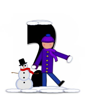 snow cap: Question mark, in the alphabet set Children Building Snowman is black and outlined with white.  Child holds wearing cap, scarf and mittens, holds snow ready to pack onto his snowman.