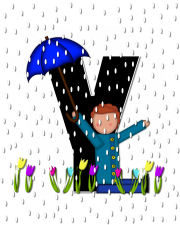 showers: The letter Y, in the alphabet set Children April Showers is black and trimmed with white.  Child holds unbrella while rain drops fall on her and Spring tulips.