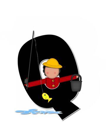 """seau d eau: La lettre Q, dans l'ensemble de l'alphabet """"Pêche Enfants Gone,"""" est noir décrit avec le blanc. Les enfants, canne et moulinet, seau, eau et lettre de décorer des poissons. Banque d'images"""