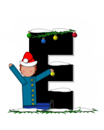 boughs: The letter E, in the alphabet set Children Christmas Ornaments, is decorated snow and pine boughs.  Child has Santa Claus hat nad decorates leter.