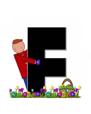 easter egg hunt: The letter F, in the alphabet set Children Easter Egg Hunt is black and trimmed with white.  Child holds basket filled with Easter eggs found in the grass amid the tulips. Stock Photo