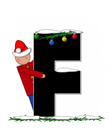 boughs: The letter F, in the alphabet set Children Christmas Ornaments, is decorated snow and pine boughs.  Child has Santa Claus hat nad decorates leter.