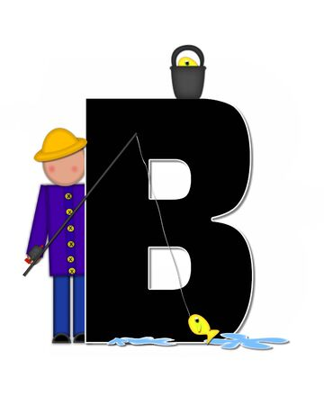 seau d eau: The letter B, in the alphabet set Children Gone Fishing, is black outlined with white.  Children, rod and reel, bucket, water and fish decorate letter.