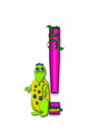 Exclamation point, in the alphabet set Dino Roaring, is decorated with jungle vines and a 3D dinosaur. Stock Photo